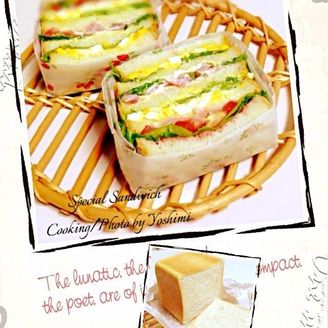 ホワイトラインちょっと入りました 歯ごたえがあるみみ部分と、中のもちもちが美味しいサンドイッチになりました❤ - 208件のもぐもぐ - 自家製酵母で角食パン(´∀ノ`*)で、またまた具沢山サンドイッチ❤ by yoshimi