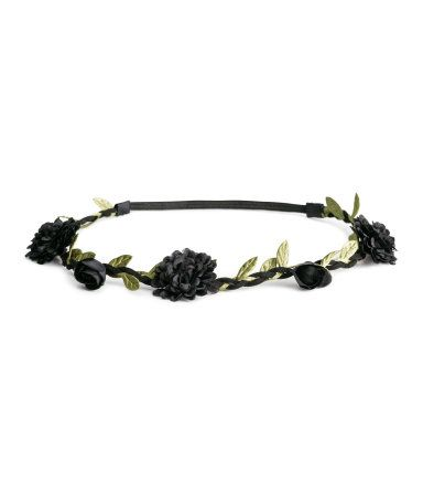 beautiful headband with small black flowers <3