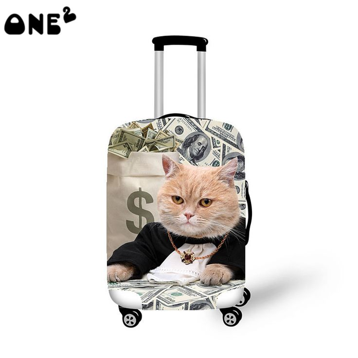 2016 ONE2 Design cat printing cover apply to 22,24,26 inch suitcase polyester production school luggage cover