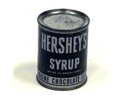 Hershey's Syrup in a can---the only way it came. Poked two triangular holes in…