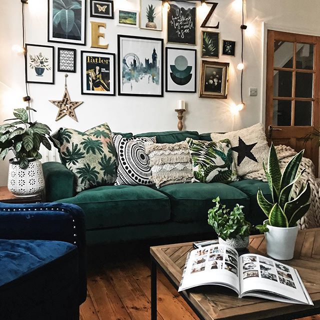 Gallery Wall Plants Green Velvet Sofa And Patterned Cushions In The Living Room Gallerywall Ga Green Sofa Living Room Green Sofa Living Living Room Designs