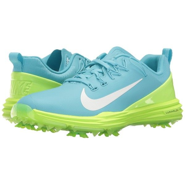 Nike Golf Lunar Command 2 (Vivid Sky/White/Ghost Green) Women's Golf... (€120) ❤ liked on Polyvore featuring shoes, athletic shoes, wide shoes, nike golf shoes, white athletic shoes, wide width golf shoes and green athletic shoes