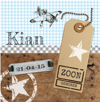 Geboortekaartje Kian | Blijkaartje.nl Stoer, hout, label, stempel, jongen