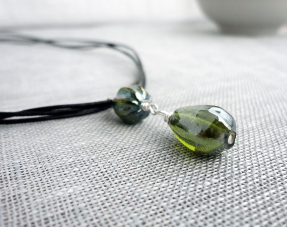 Leather multi stranded necklace green glass pendant by tline, $34.00Strand Necklaces, Glasses Pendants, Leather Multi, Necklaces Green, Green Glasses, Multi Strand