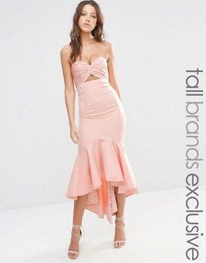 Jarlo Tall Bandeau Cutout Midi Dress With Fishtail Detail