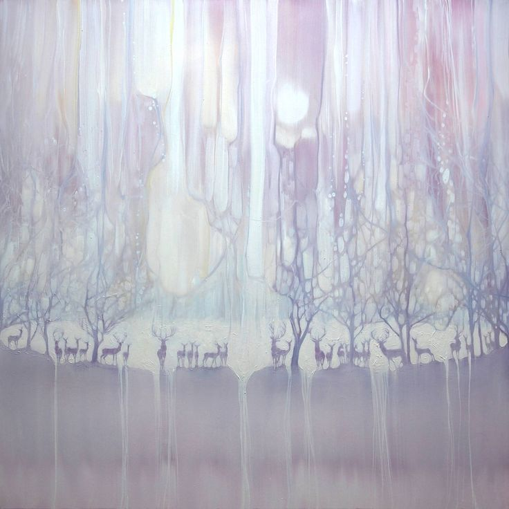 Buy Prints of Cradle of Life - a white painting of deer by a lake, a Oil on Canvas by Gill Bustamante from United Kingdom. It portrays: Nature, relevant to: WHITE PAINTINGS, mystical landscape, white art, deer, deer in woods, lakes and trees, forest and lake, deer stag, deer landscape 40 x 40 x 1.5 inches large original oil painting of a group of deer in by a lake. The painting is white with light neutral shades of lilac, yellow and blue. A row of stags and deer are lined up on a bank with a…