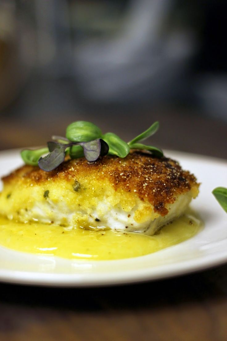 Crispy Crusted Halibut with White Wine Beurre Blanc.  Combo of 3 ingredients to make delicious crust and easy instructions for the perfect beurre blanc!