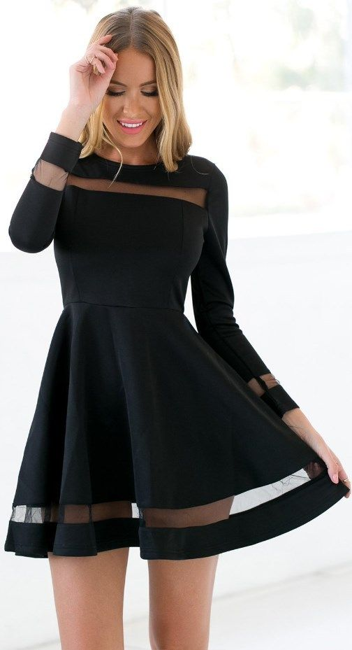 Cute black skater dress! Ideal for holiday, club, cocktail party, night out, wedding guest, or semi-formal occasion LBD. || More at http://www.cutedresses.co/product/skater-long-sleeves-mesh-panel-flare-casual-dress