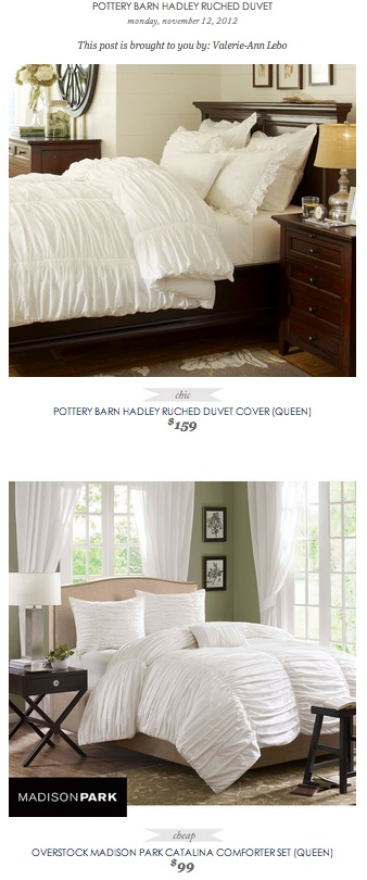 Overstock Bedroom Sets: COPY CAT CHIC FIND: POTTERY BARN HADLEY RUCHED DUVET COVER