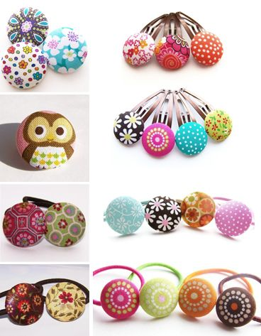 Button Hair Clips - cute!