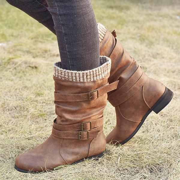 Mid Calf Buckle Strap Boots Boots Boot Straps Leopard High Heels