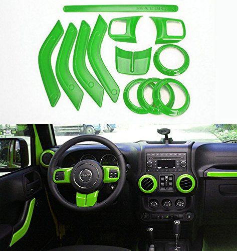 Opall Full Set Interior Decoration Trim Kit Steering Wheel Trim, Centrer Console Air Outlet Trim, Door Handle Cover Inner, Passenger Seat Handle Trim For Jeep Wrangler 2011-2016 4-door (Green) - http://www.caraccessoriesonlinemarket.com/opall-full-set-interior-decoration-trim-kit-steering-wheel-trim-centrer-console-air-outlet-trim-door-handle-cover-inner-passenger-seat-handle-trim-for-jeep-wrangler-2011-2016-4-door-green/  #20112016, #4Door, #Centrer, #Console, #Cover, #Dec