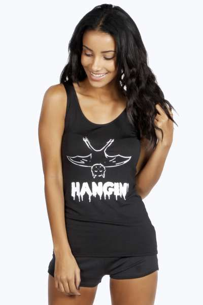 Holly Hangin' Black Vest & Short PJ Set at boohoo.com
