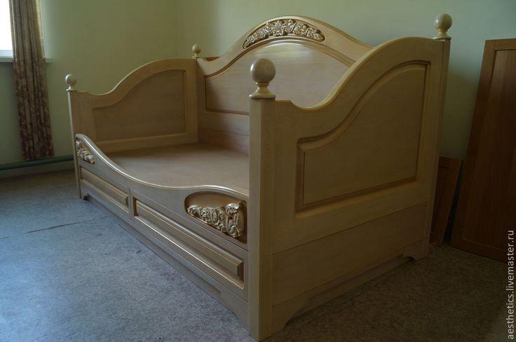 """Купить Диван-кровать из бука """"Нежность"""" - кремовый, кровать, диван, спальня, мебель из дерева"""