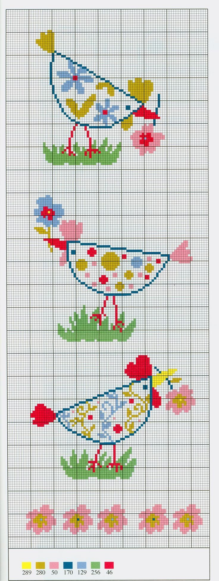 Floral chickens free cross stitch pattern from www.coatscrafts.pl