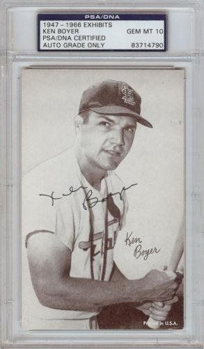 Ken Boyer Signed 1947-66 Exhibits (Graded 10) - PSA/DNA Certified - Baseball Slabbed Autographed Vintage Cards *** Learn more by visiting the image link.