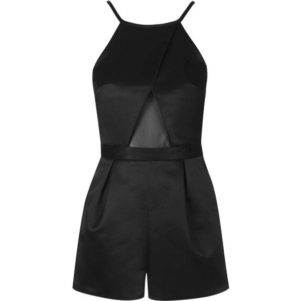 TopShop Satin Mesh Playsuit ($20) ❤ liked on Polyvore featuring jumpsuits, rompers, dresses, playsuits, jumpsuit, shorts, satin romper, strappy jumpsuit, jump suit and playsuit romper