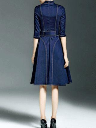 Blue Turtleneck Color-block Cotton Long Sleeve Midi Dress