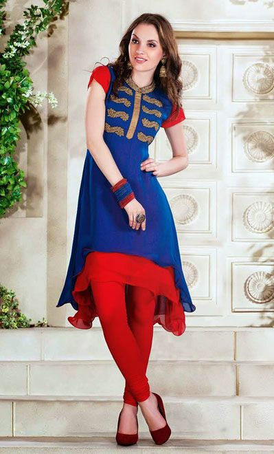 USD 82.79 Blue Faux Georgette Designer Kurti    34976