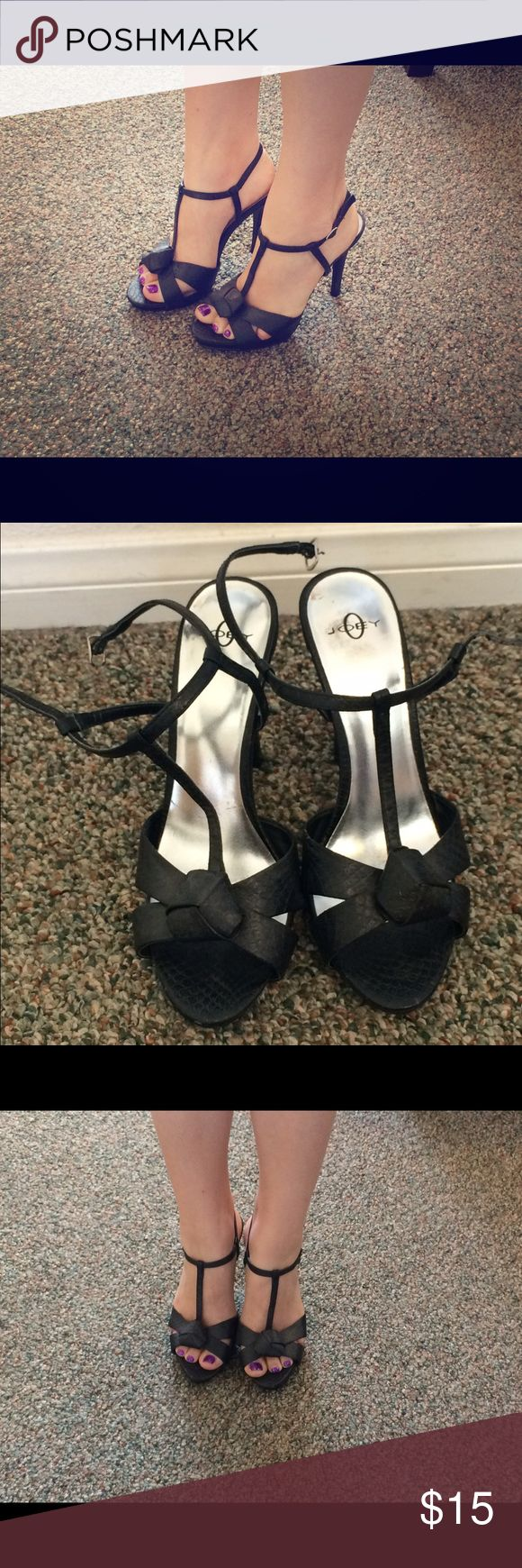 Black heels Very cute black heels, they are work down just a little bit on the strap, I will reflect in price. Will take offers. Shoes