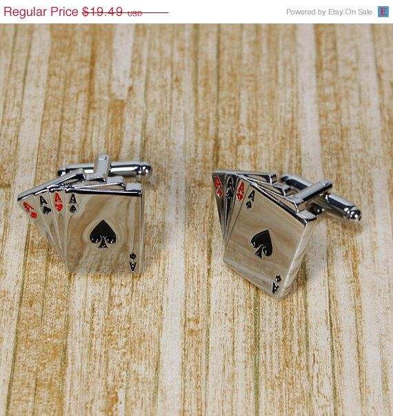 ON SALE Four Aces Poker Steel Las Vegas Gamble Playing Cards Wedding Cufflinks by CuffReations on Etsy https://www.etsy.com/listing/181665994/on-sale-four-aces-poker-steel-las-vegas