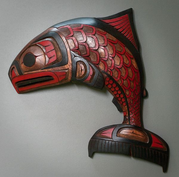 Jumping Salmon by Ron Aleck - northwest coast mask Arctic Raven Gallery, Friday Harbor, WA