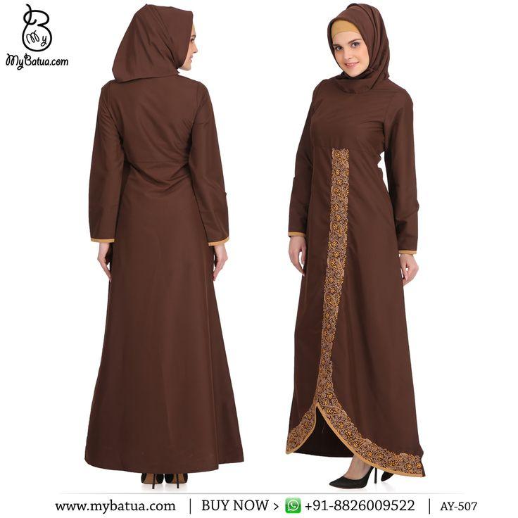 Buy Shimaz Brown Kashibo Brown Short Abaya Online | MyBatua  Available in sizes XS to 7XL, length 50 to 66 inches.  Buy Link: http://bit.ly/2lLN9Uw Whatsapp: +91-8826009522 (#worldwide #shipping)  #abaya #brown #online #arabclothing #hijabdress #dubaifashion #muslimwomen #muslimah #arabjilbab #jordandress #muslimclothing #hijabwomen