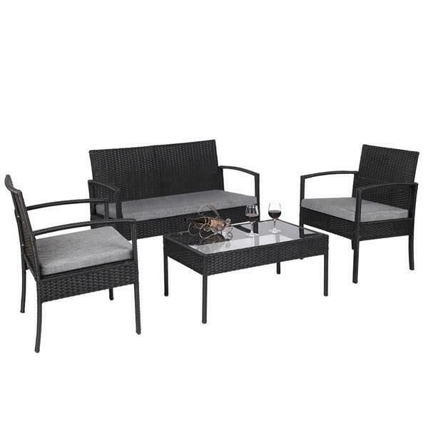 4 Pcs Outdoor Patio Rattan Wicker Furniture Set With Table Sofa