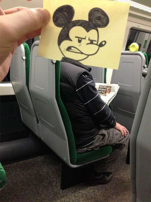 Passing time on the train: October Jones turns other people into cartoon characters