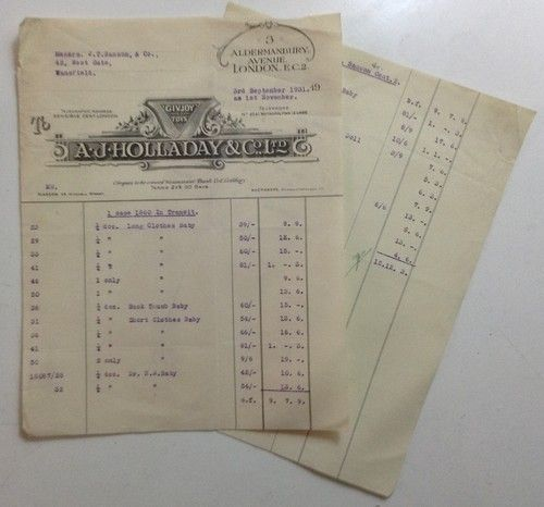 A J Holladay & Co Ltd  of Aldermanbury Avenue, London EC2, used the trademark 'Givjoy Toys' This is an two page invoice sent by them to a toy shop in Mansfield, Nottingham for dolls and dolls clothes dated 3rd September 1931: Clothes Dated, Dolls Clothes, Doll Clothes, Aldermanbury Avenue, Dated 3Rd, London Ec2, 3Rd September, Givjoy Toys