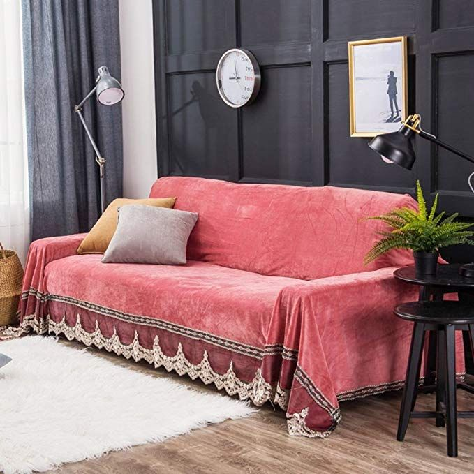 Plush Sofa Slipcover,1-Piece Vintage Lace Suede Couch Cover Anti ...