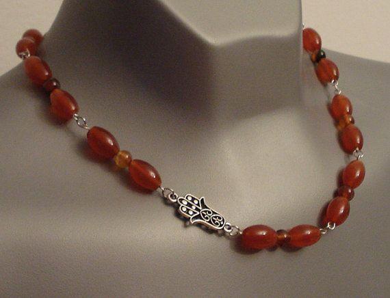 Carnelian  necklace - Hamsa necklace