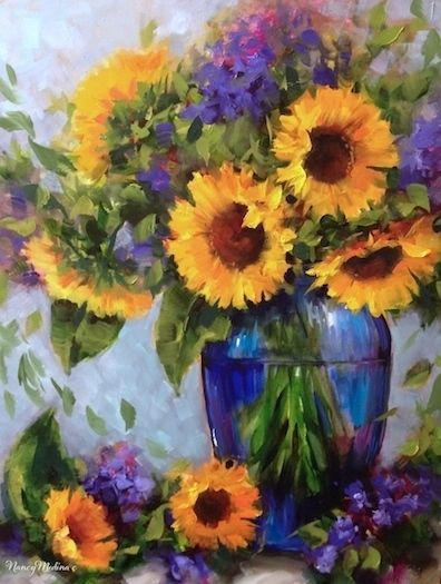 Fall Sunday Sunflowers and an Iris Garden - Nancy Medina