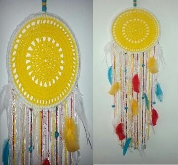 Large dream catcher Crochet Doily Dreamcatcher by handmadebyfofo It has all the Shasta colors.
