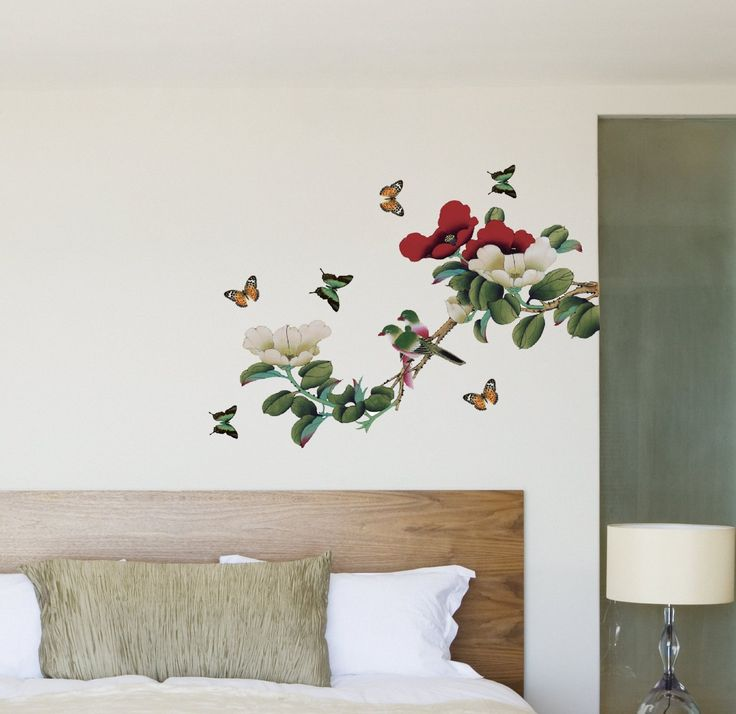 Nice Cheap Wall Decals   YYone Red And White Peony With Sparrow Birds Wall Mural  Decal Home Good Ideas