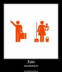 A través de este pictograma se representa el sexismo la mujer en casa y con los niños y el hombre fuera a trabajar...en la sociedad actual esto va cambiando y cada vez se comparten más las tareas.