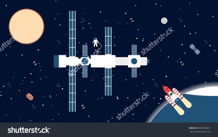 Background space, shuttle, station, spaceman, moon sun asteroid in flat design
