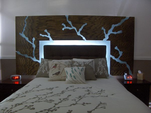 Lighted floating headboard made with plexiglass and wood. The design  appears to be cut out of plywood that has been stained and was inspired  from t… - Lighted Floating Headboard Made With Plexiglass And Wood. The