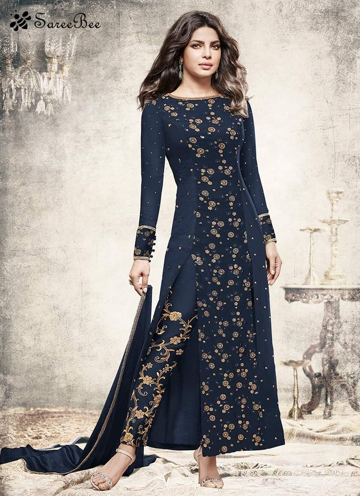 Priyanka Chopra Resham Work Designer Suit  Stand out from rest with this Priyanka Chopra navy blue faux georgette designer suit. The brilliant attire creates a dramatic canvas with amazing embroidered, lace and resham work. Comes with matching bottom and dupatta.