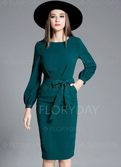 Dresses - $58.15 - Cotton Blends Solid Long Sleeve Knee-Length Elegant Dresses (1955112269)