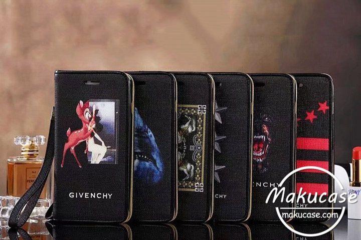 ブランド Givenchy ジバンシィ iphone ケース パロディ風 iphone7 iphone7plusケース 手帳型 ブランド アイフォン8ケース 個性的 革製 iphone8 plusケース ブラック かっこいい アイフォンケースカバー