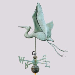 Weathervane - Blue Heron - Polished or Antiqued Copper weathervane includes full bodied copper figure, copper spacer balls, solid brass directionals and stainless steel/brass rod.