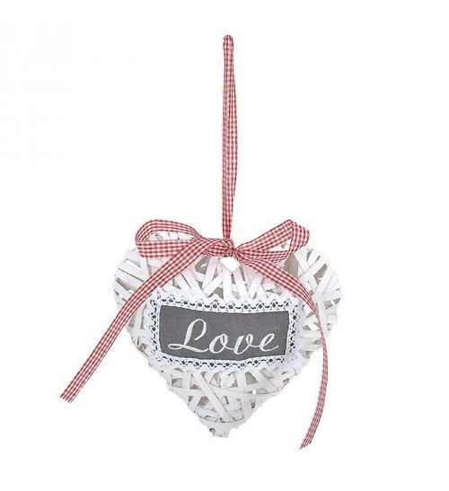 WOODEN HANGING HEART IN WHITE COLOR 17X20X6