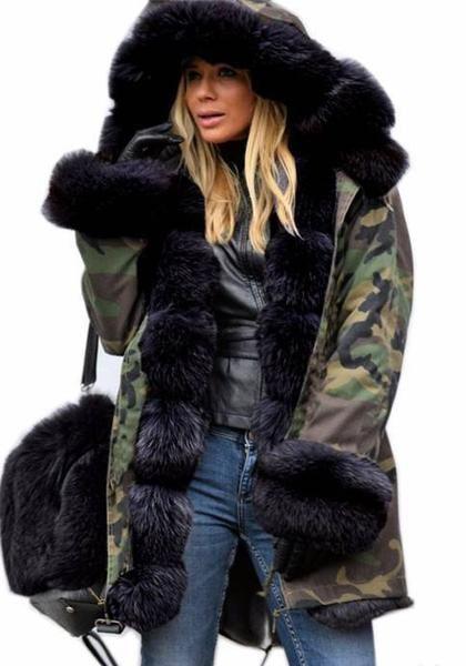 9ddea7a6a364 Army Green Camouflage Pockets Hooded Fur Collar Long Sleeve Fatigue ...