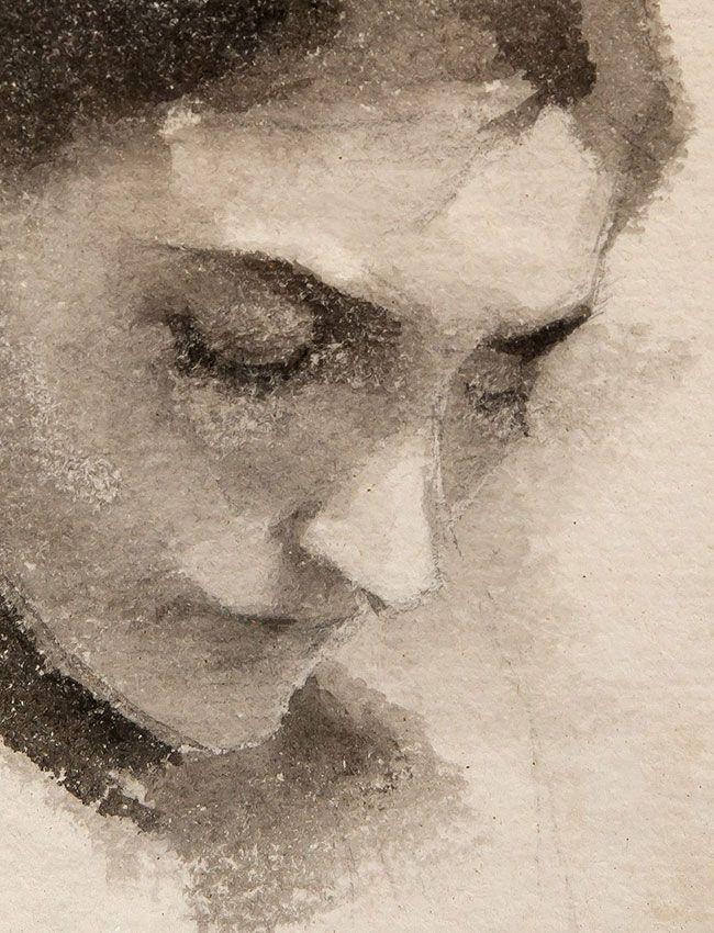 Helene Schjerfbeck, portrait à l'aquarelle, détail