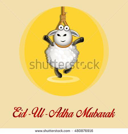 Eid Al Adha. Greeting Card Design with Cute Baby Sheep for Muslim Community…