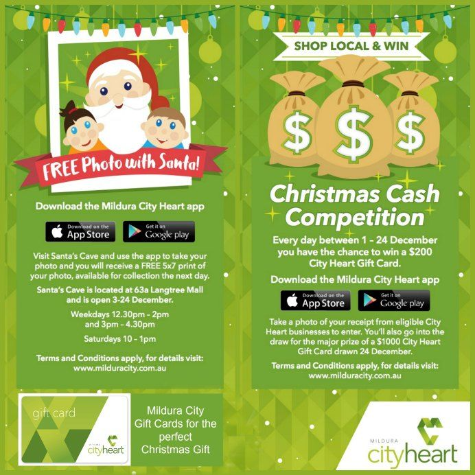 Christmas at the Mildura City Heart - Photos at Santa's Cave, Christmas Cash Competition and the perfect gift for anyone...