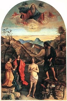 TheBaptism of Christis a paintingtemperaon panel(400x263 cm) ofGiovanni Bellini, dating from1500-1502and preserved in thechurch of Santa CoronainVicenza.