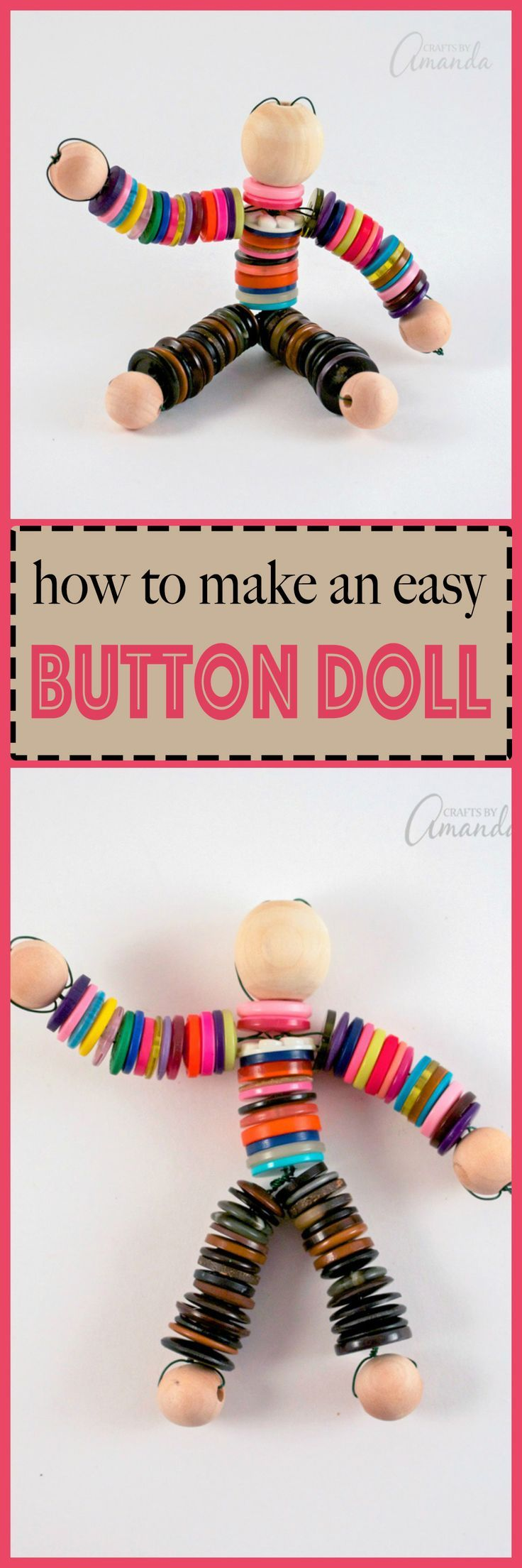 This button doll craft is perfect for anyone - adults, kids, even seniors and preschoolers. Making a button doll is easy and fun!