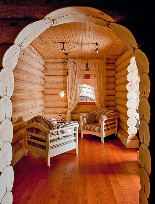 Дом из оцилиндрованного бревна от дизайн-бюро «Линия 8»